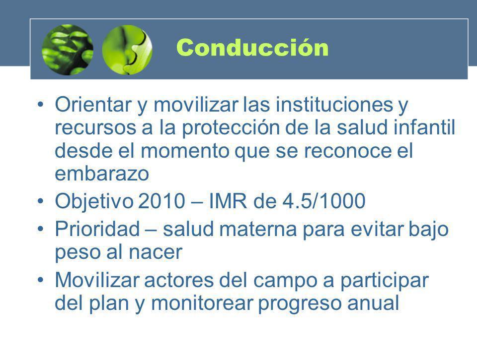 Conducción Orientar y movilizar las instituciones y recursos a la protección de la salud infantil desde el momento que se reconoce el embarazo.