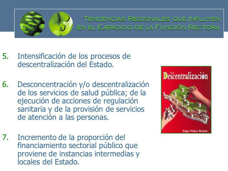 Intensificación de los procesos de descentralización del Estado.