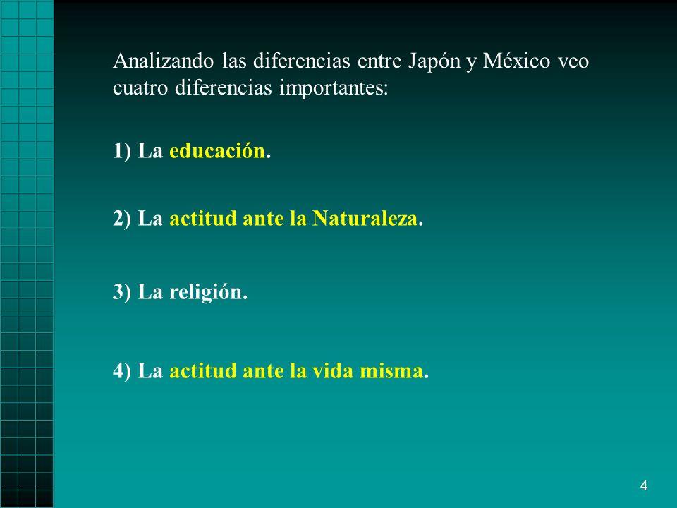 Analizando las diferencias entre Japón y México veo cuatro diferencias importantes: