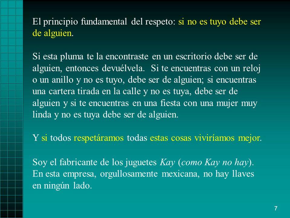 El principio fundamental del respeto: si no es tuyo debe ser de alguien.
