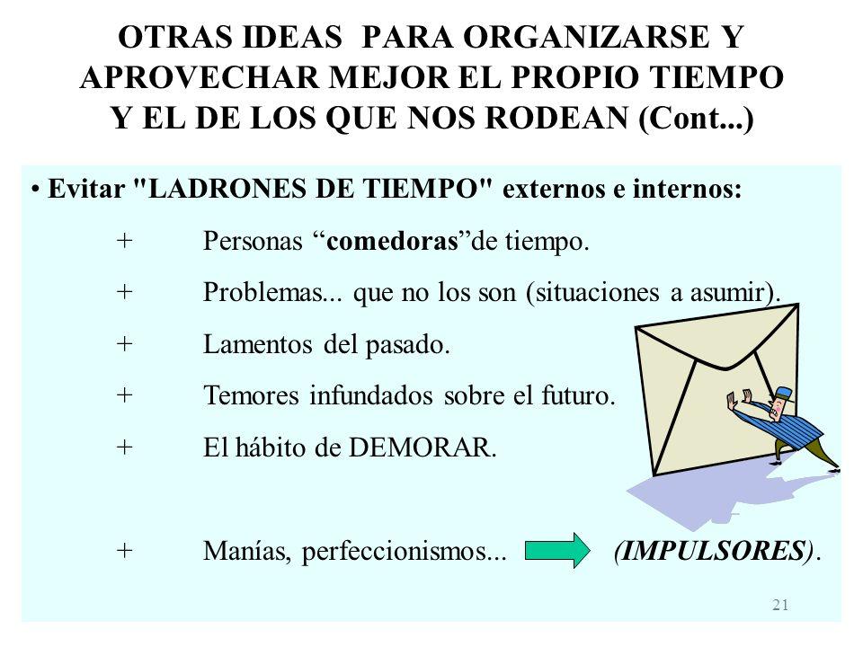 OTRAS IDEAS PARA ORGANIZARSE Y APROVECHAR MEJOR EL PROPIO TIEMPO Y EL DE LOS QUE NOS RODEAN (Cont...)