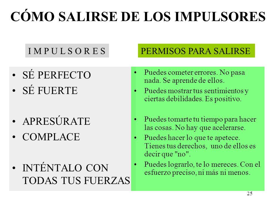 CÓMO SALIRSE DE LOS IMPULSORES