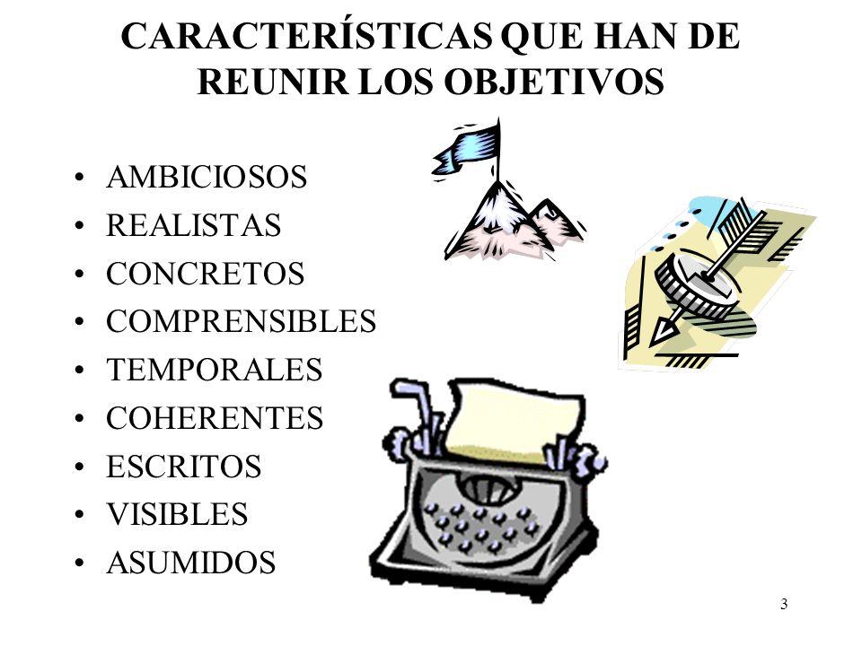 CARACTERÍSTICAS QUE HAN DE REUNIR LOS OBJETIVOS