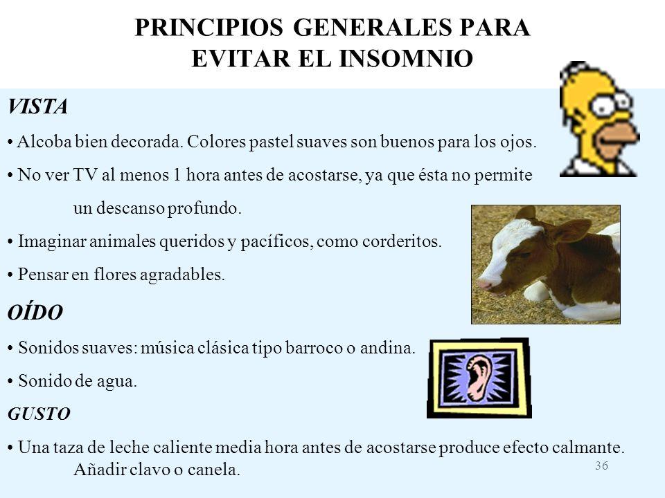 PRINCIPIOS GENERALES PARA EVITAR EL INSOMNIO