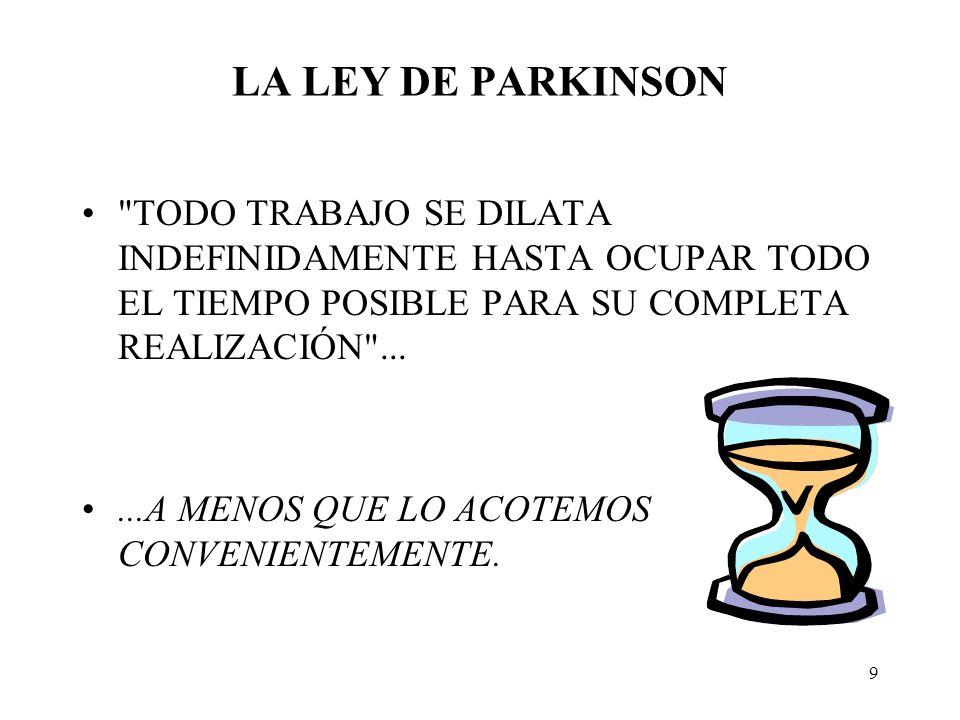 LA LEY DE PARKINSON TODO TRABAJO SE DILATA INDEFINIDAMENTE HASTA OCUPAR TODO EL TIEMPO POSIBLE PARA SU COMPLETA REALIZACIÓN ...