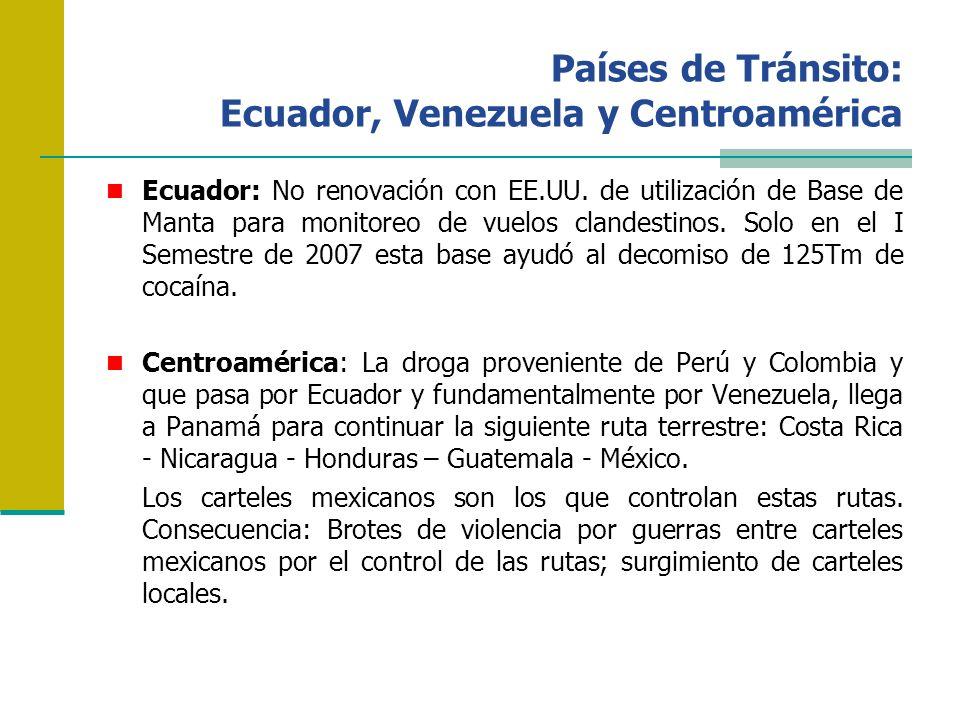 Países de Tránsito: Ecuador, Venezuela y Centroamérica