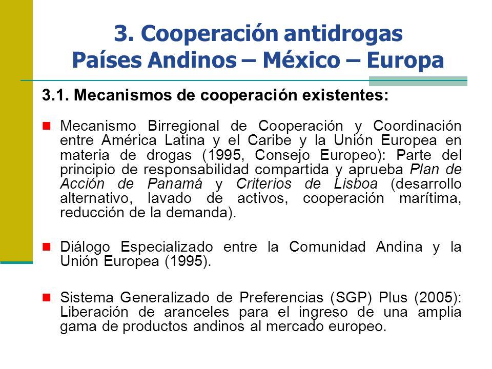 3. Cooperación antidrogas Países Andinos – México – Europa