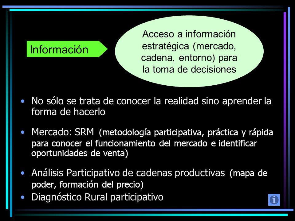 Acceso a información estratégica (mercado, cadena, entorno) para la toma de decisiones