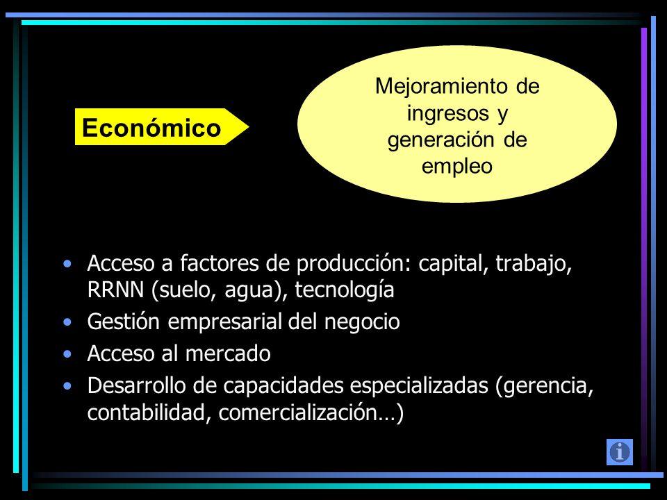 Mejoramiento de ingresos y generación de empleo