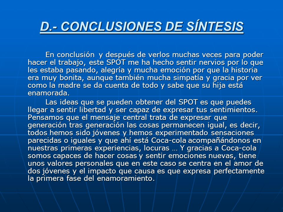 D.- CONCLUSIONES DE SÍNTESIS