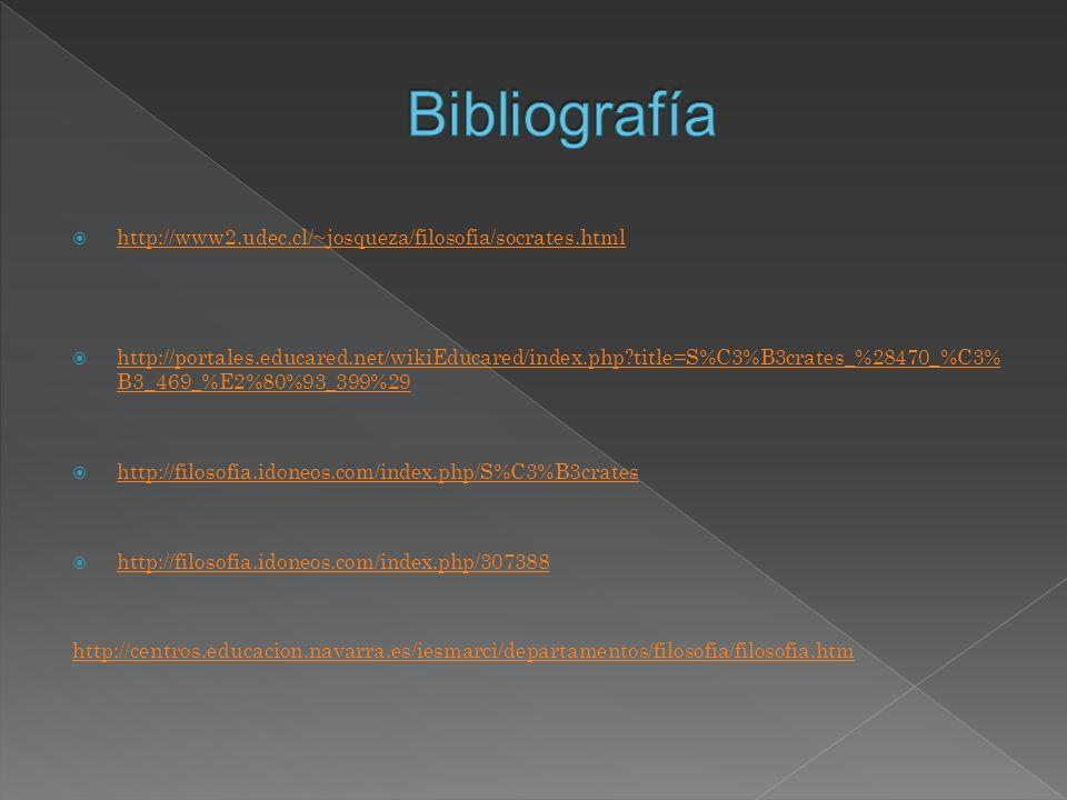 Bibliografía http://www2.udec.cl/~josqueza/filosofia/socrates.html