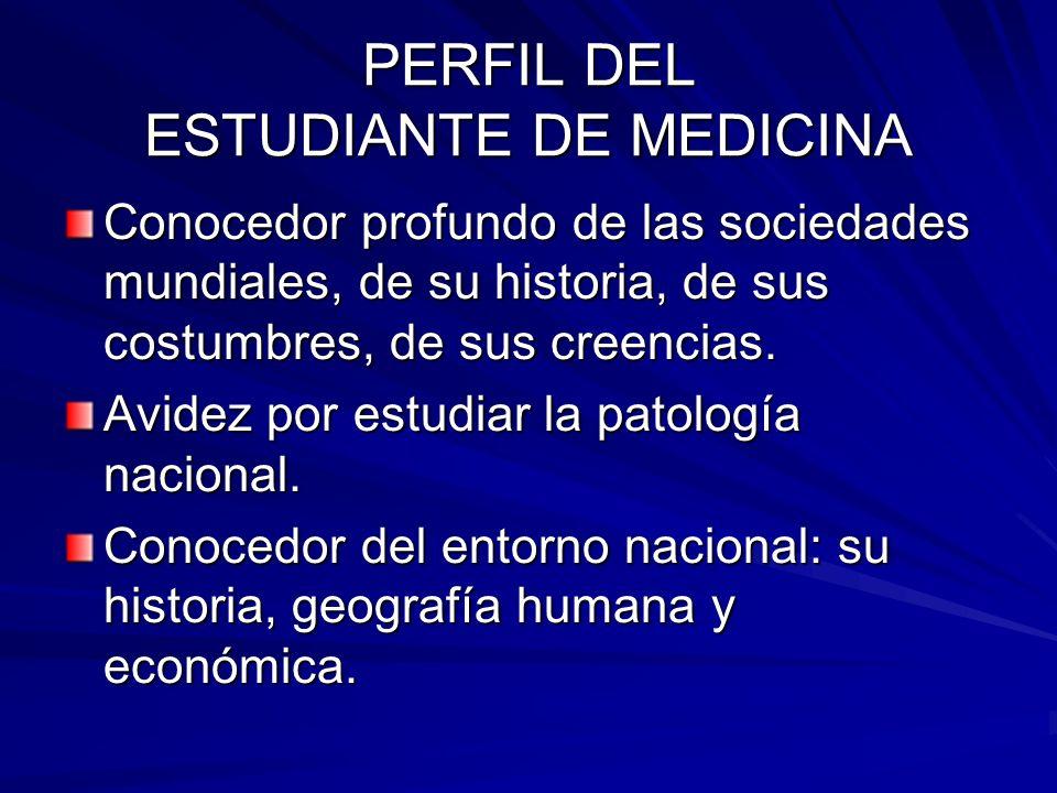 PERFIL DEL ESTUDIANTE DE MEDICINA