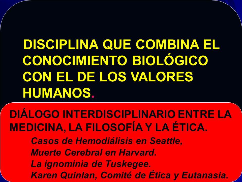 CONCEPTO DE BIOÉTICA CONOCIMIENTO BIOLÓGICO CON EL DE LOS VALORES