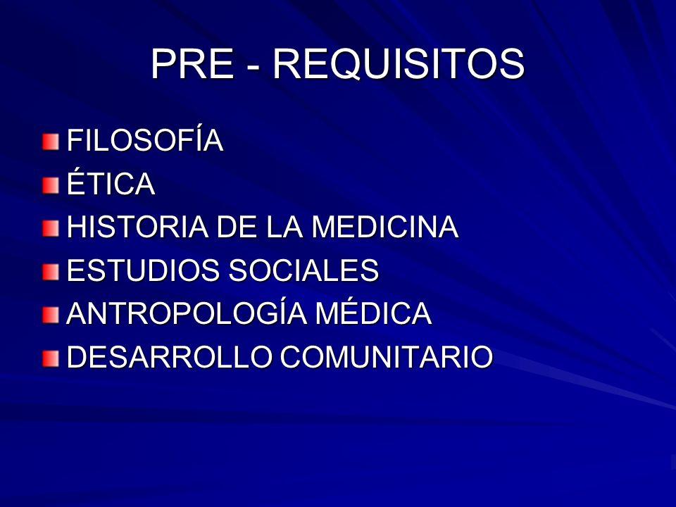 PRE - REQUISITOS FILOSOFÍA ÉTICA HISTORIA DE LA MEDICINA