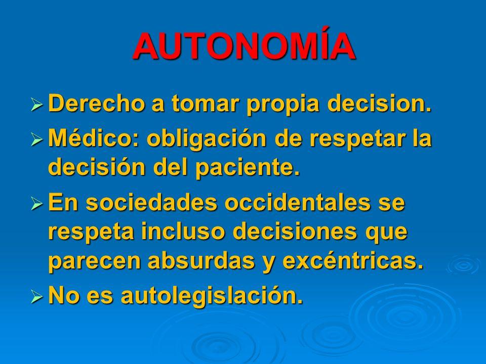 AUTONOMÍA Derecho a tomar propia decision.