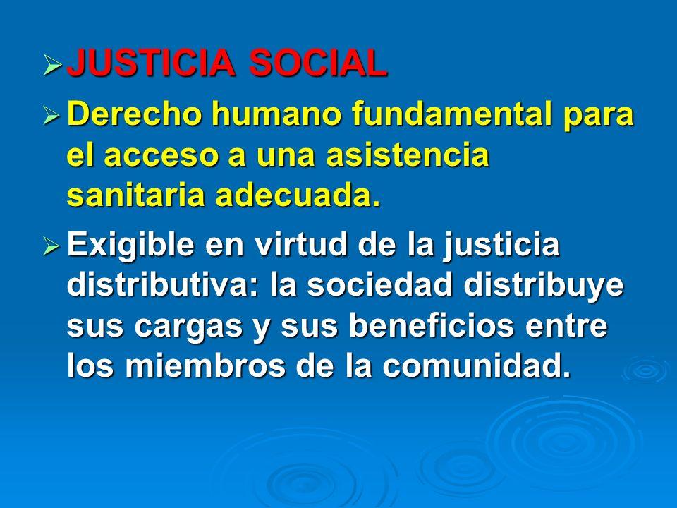 JUSTICIA SOCIAL Derecho humano fundamental para el acceso a una asistencia sanitaria adecuada.