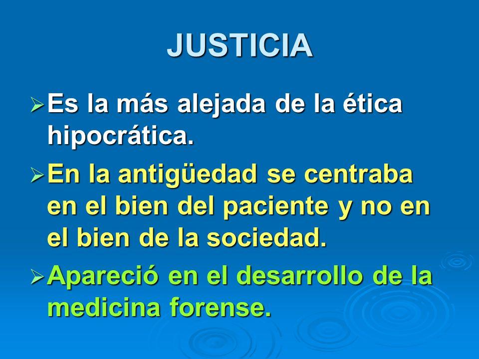 JUSTICIA Es la más alejada de la ética hipocrática.