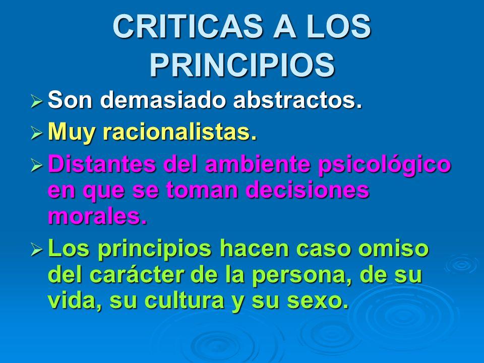 CRITICAS A LOS PRINCIPIOS