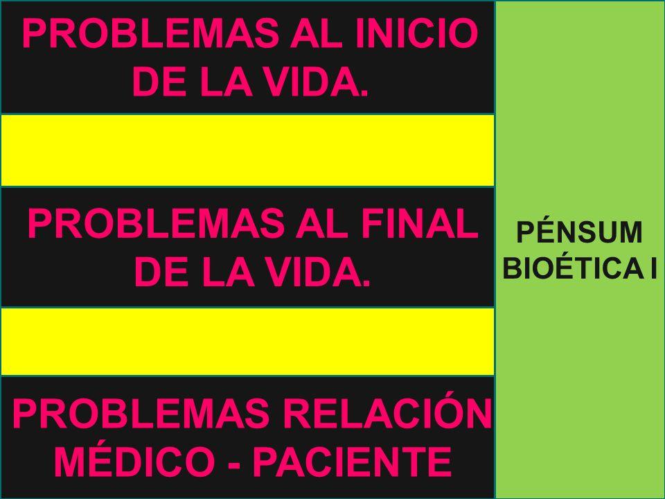 PROBLEMAS AL INICIO DE LA VIDA. PROBLEMAS AL FINAL DE LA VIDA.