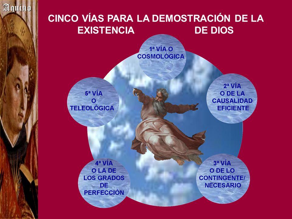 CINCO VÍAS PARA LA DEMOSTRACIÓN DE LA EXISTENCIA DE DIOS