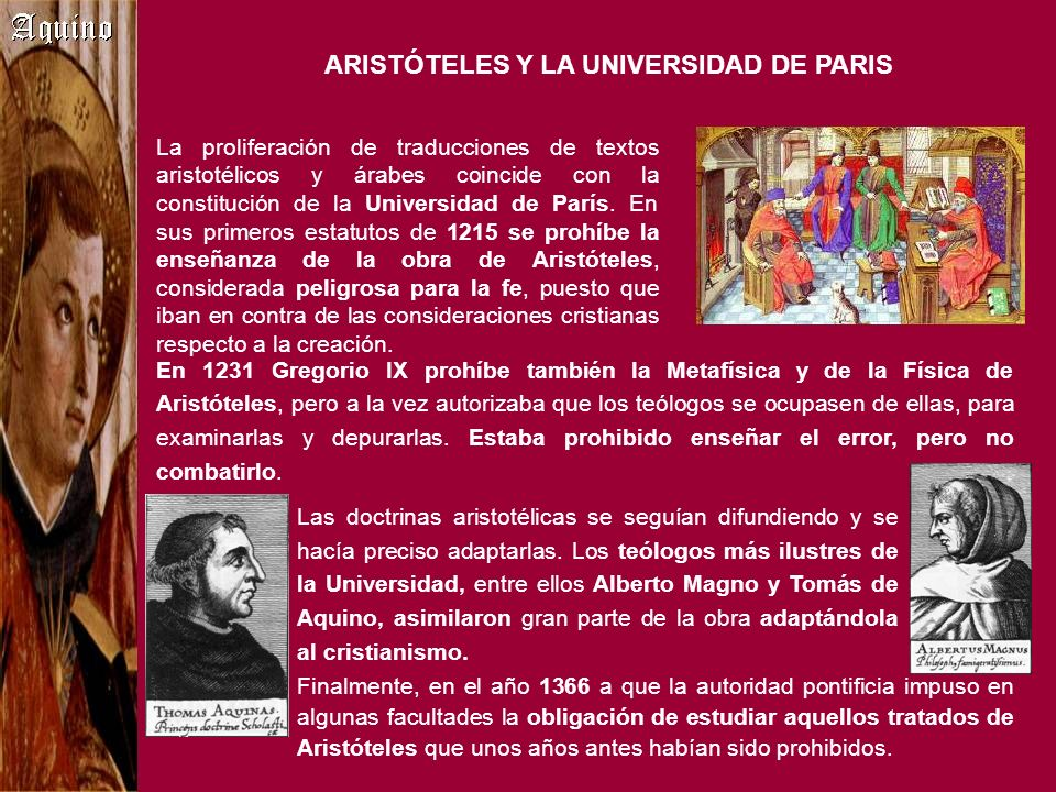 ARISTÓTELES Y LA UNIVERSIDAD DE PARIS