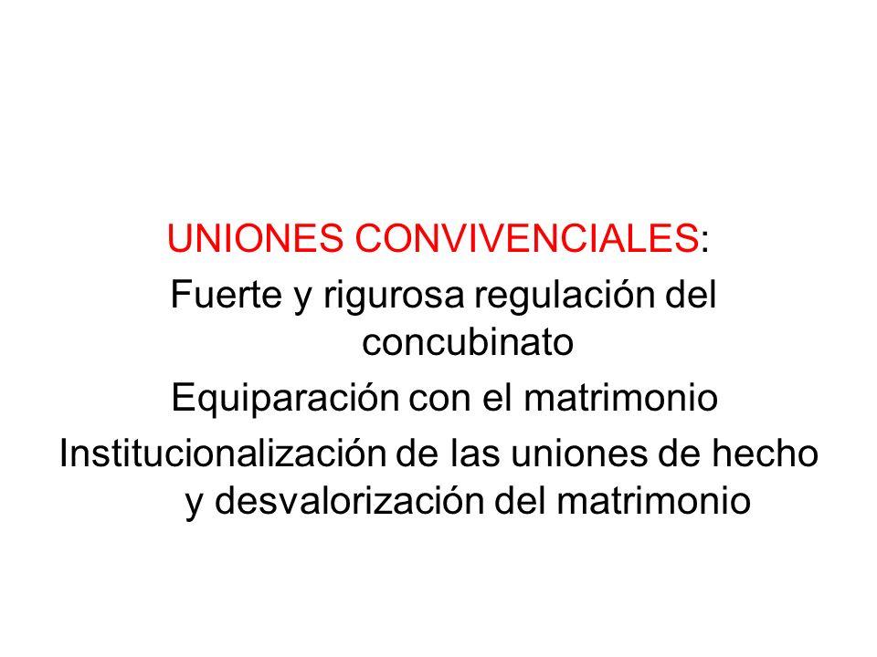 UNIONES CONVIVENCIALES: Fuerte y rigurosa regulación del concubinato