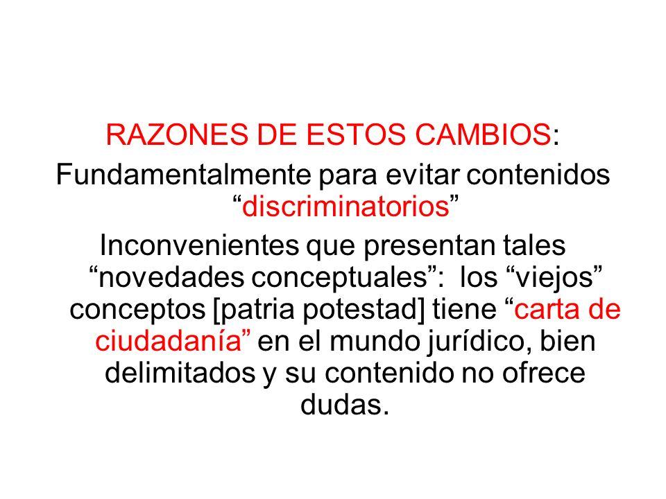 RAZONES DE ESTOS CAMBIOS: