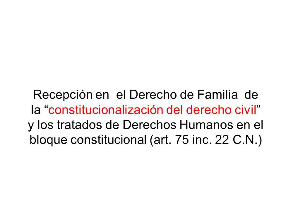 Recepción en el Derecho de Familia de la constitucionalización del derecho civil y los tratados de Derechos Humanos en el bloque constitucional (art.