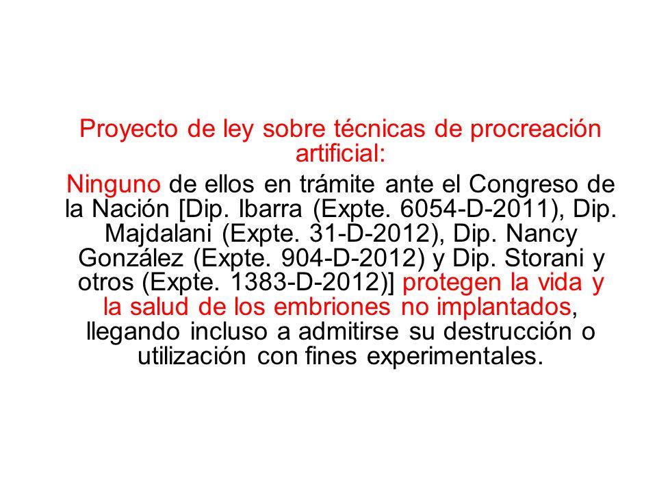 Proyecto de ley sobre técnicas de procreación artificial: