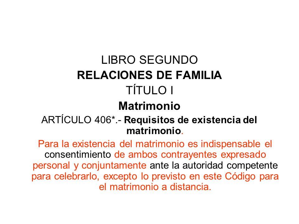 ARTÍCULO 406*.- Requisitos de existencia del matrimonio.