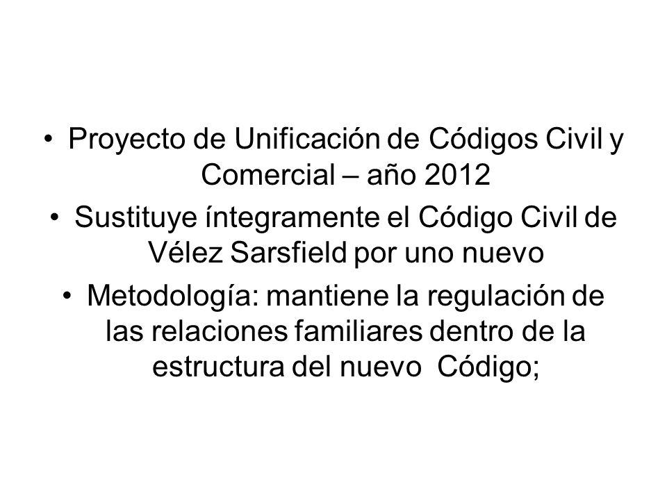 Proyecto de Unificación de Códigos Civil y Comercial – año 2012