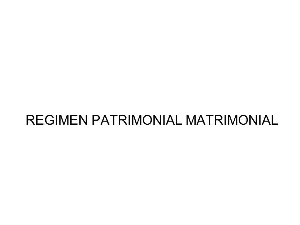 REGIMEN PATRIMONIAL MATRIMONIAL