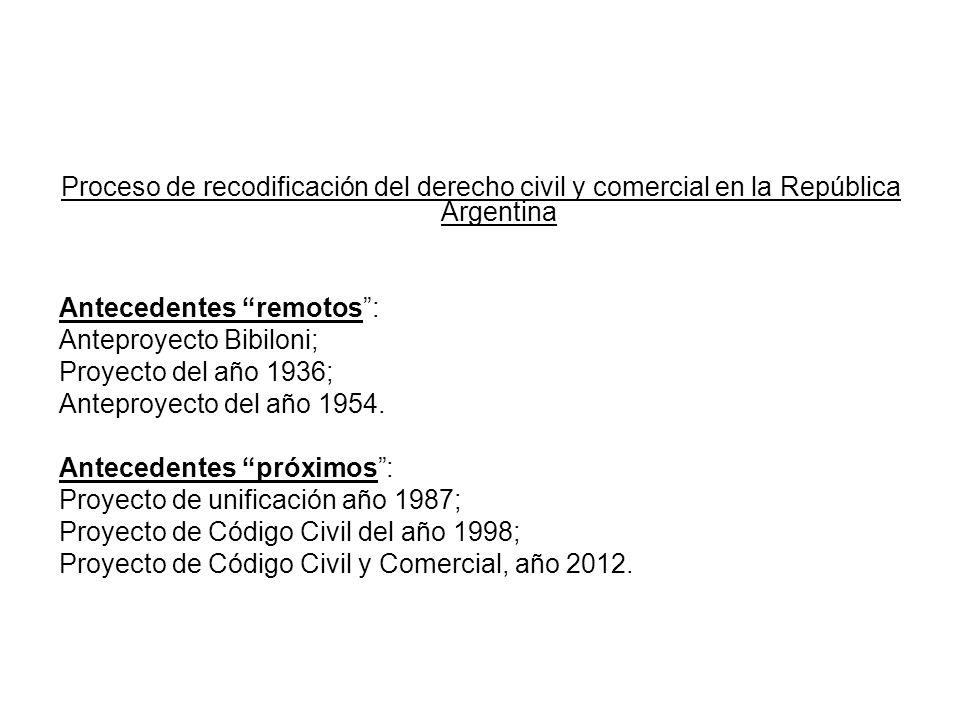Proceso de recodificación del derecho civil y comercial en la República Argentina