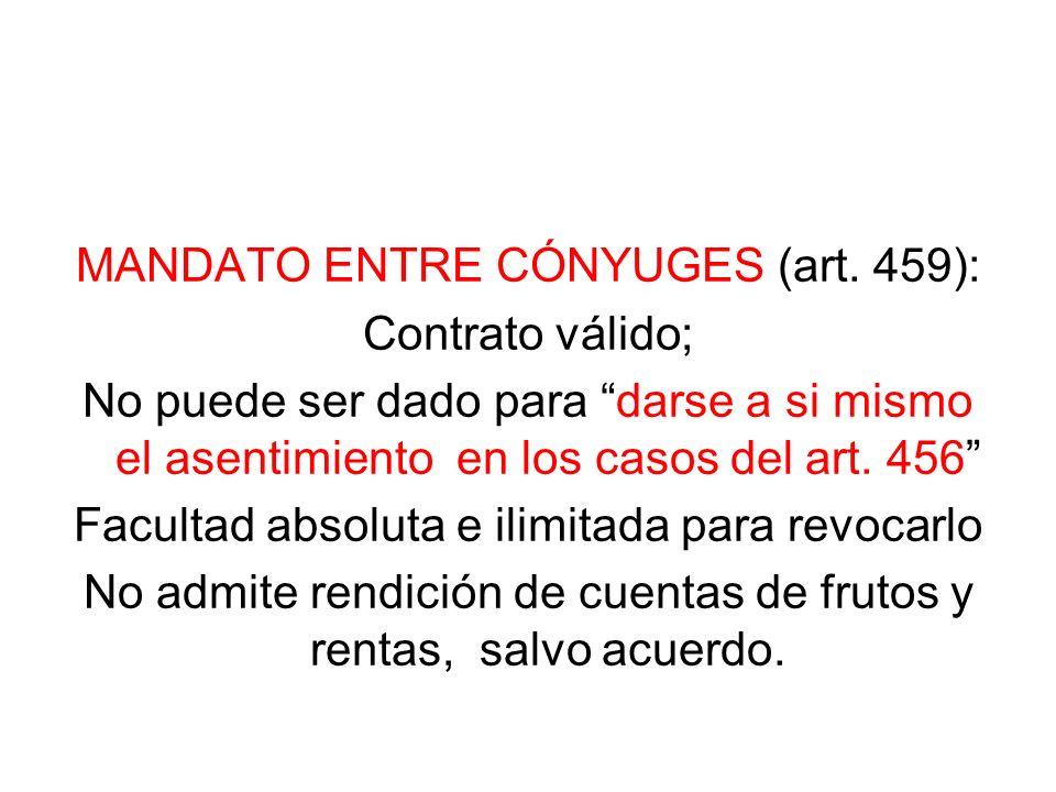 MANDATO ENTRE CÓNYUGES (art. 459): Contrato válido;