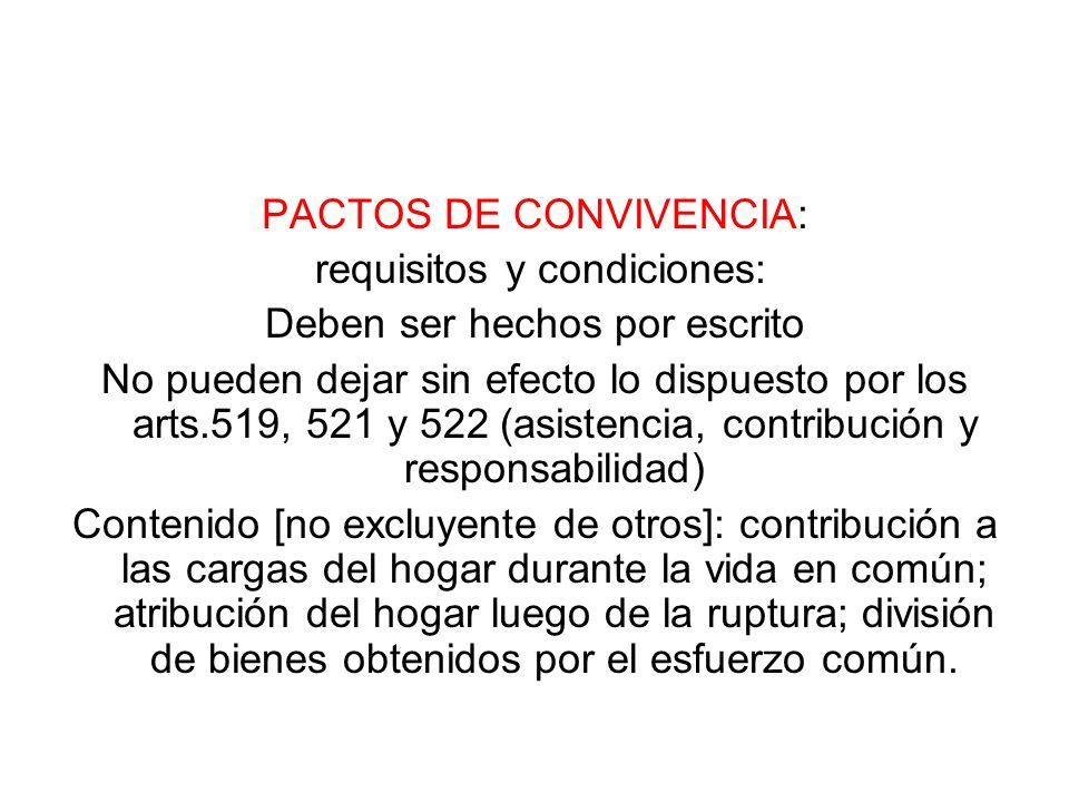 PACTOS DE CONVIVENCIA: requisitos y condiciones: