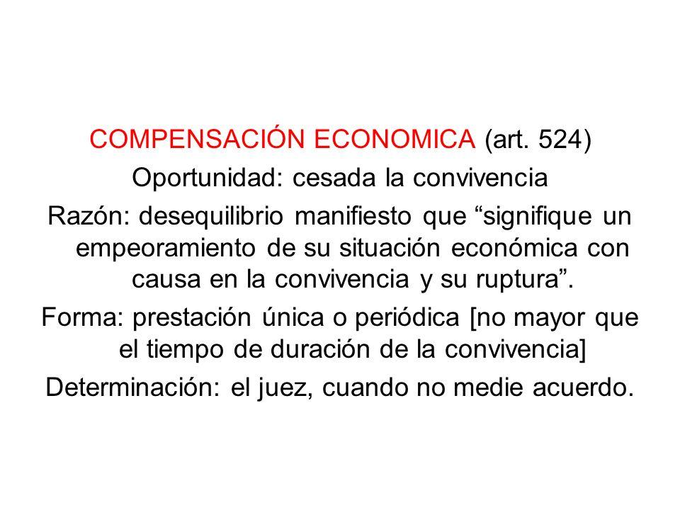 COMPENSACIÓN ECONOMICA (art. 524) Oportunidad: cesada la convivencia