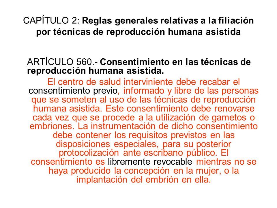 CAPÍTULO 2: Reglas generales relativas a la filiación por técnicas de reproducción humana asistida