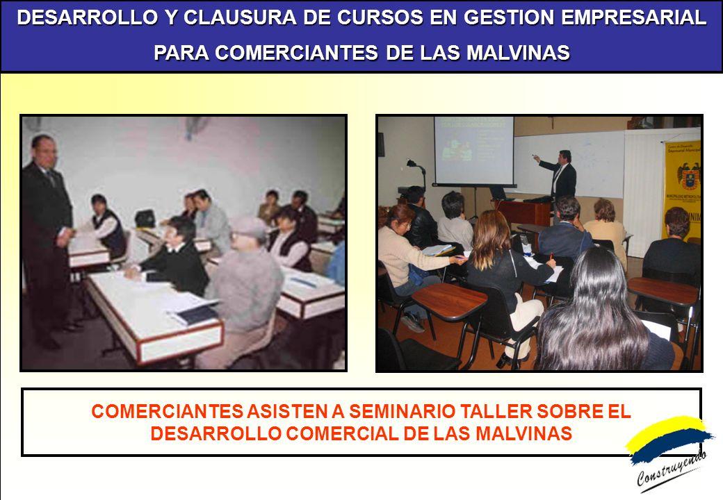 DESARROLLO Y CLAUSURA DE CURSOS EN GESTION EMPRESARIAL