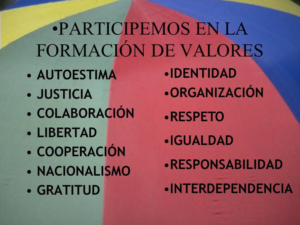 PARTICIPEMOS EN LA FORMACIÓN DE VALORES