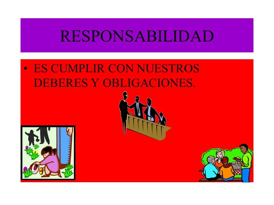RESPONSABILIDAD ES CUMPLIR CON NUESTROS DEBERES Y OBLIGACIONES.