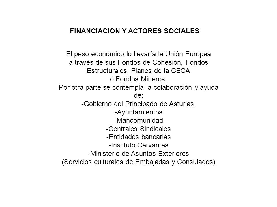 FINANCIACION Y ACTORES SOCIALES