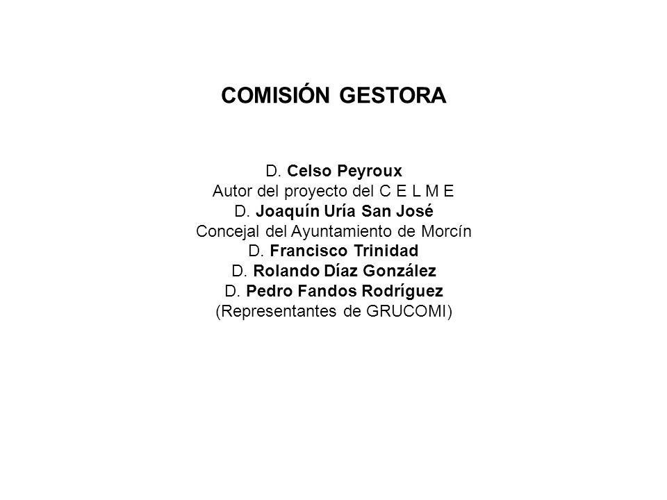 COMISIÓN GESTORA D. Celso Peyroux Autor del proyecto del C E L M E