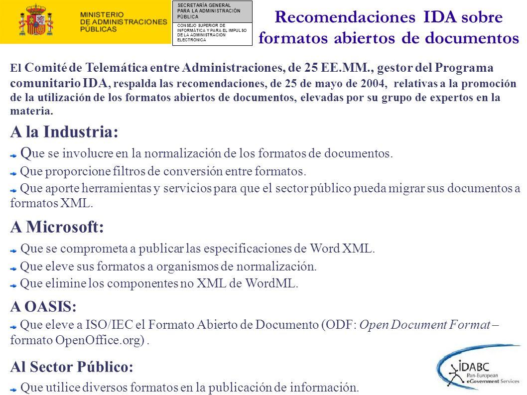 Recomendaciones IDA sobre formatos abiertos de documentos