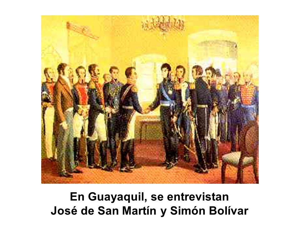 En Guayaquil, se entrevistan José de San Martín y Simón Bolívar
