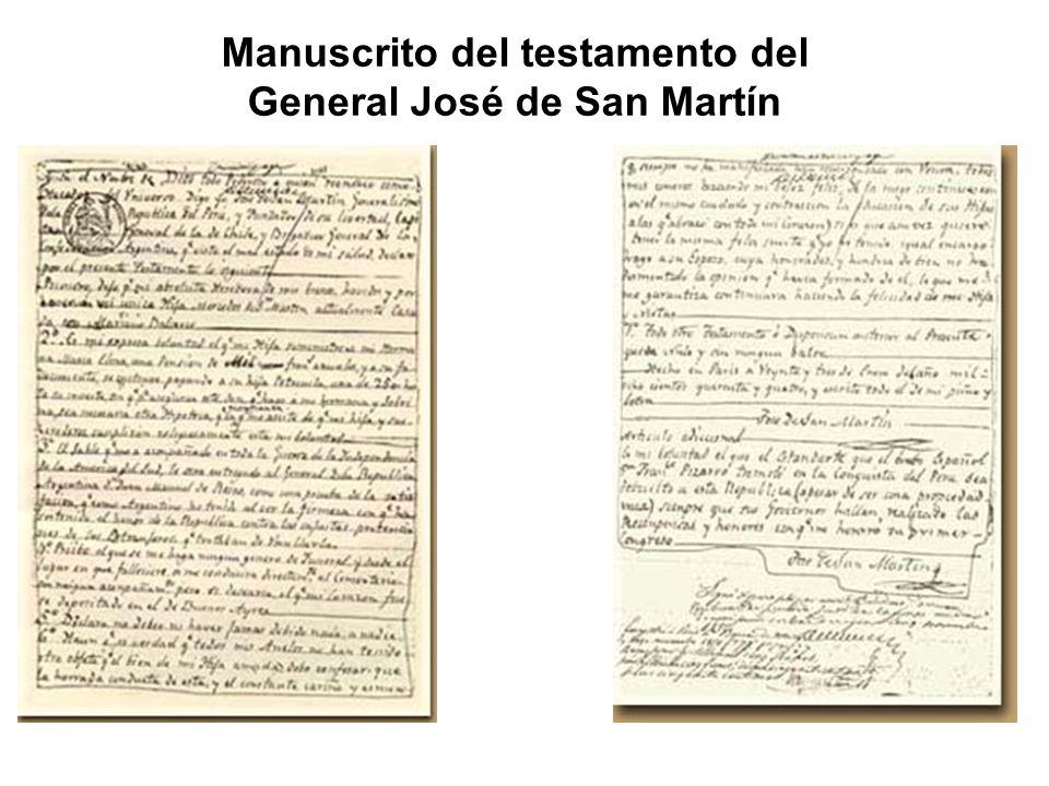 Manuscrito del testamento del General José de San Martín