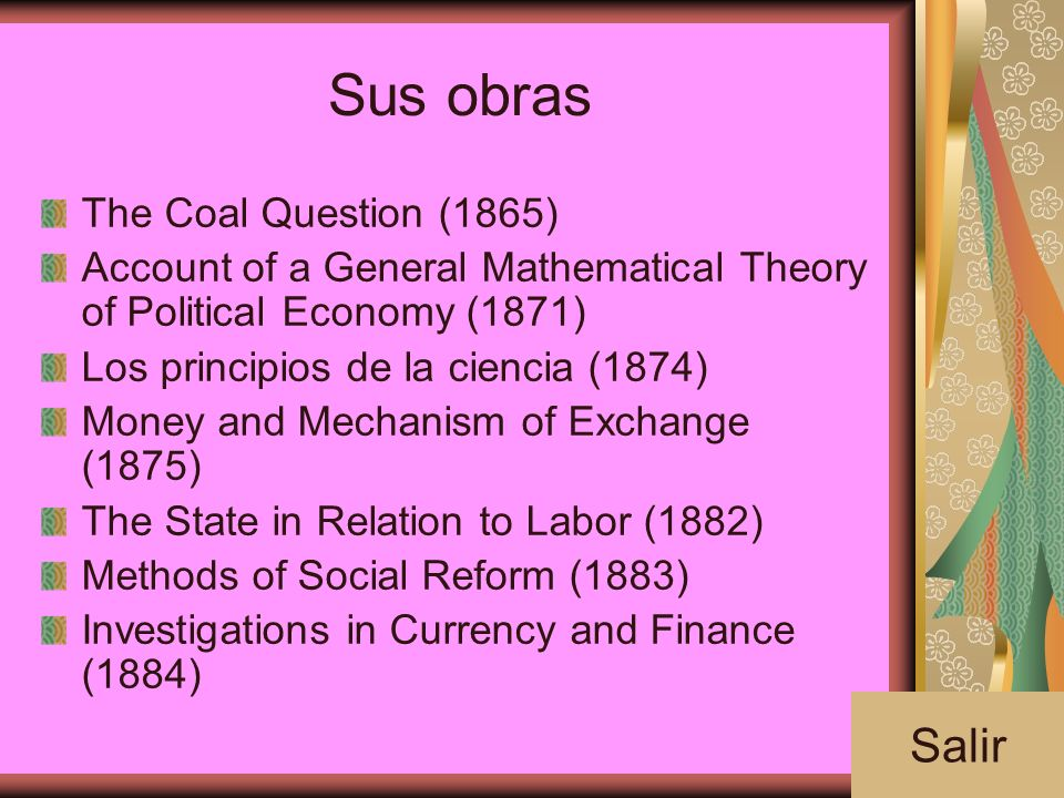 Sus obras Salir The Coal Question (1865)