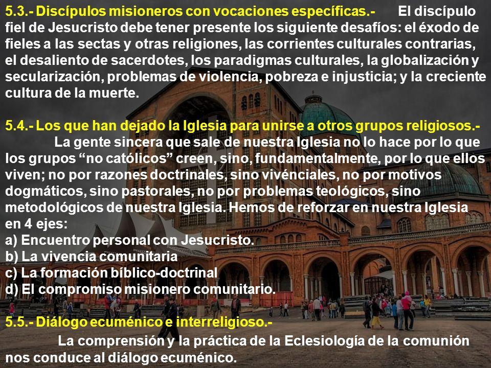 5. 3. - Discípulos misioneros con vocaciones específicas. -