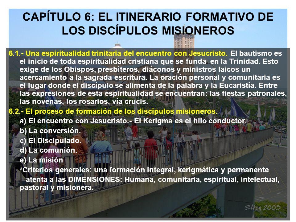 CAPÍTULO 6: EL ITINERARIO FORMATIVO DE LOS DISCÍPULOS MISIONEROS