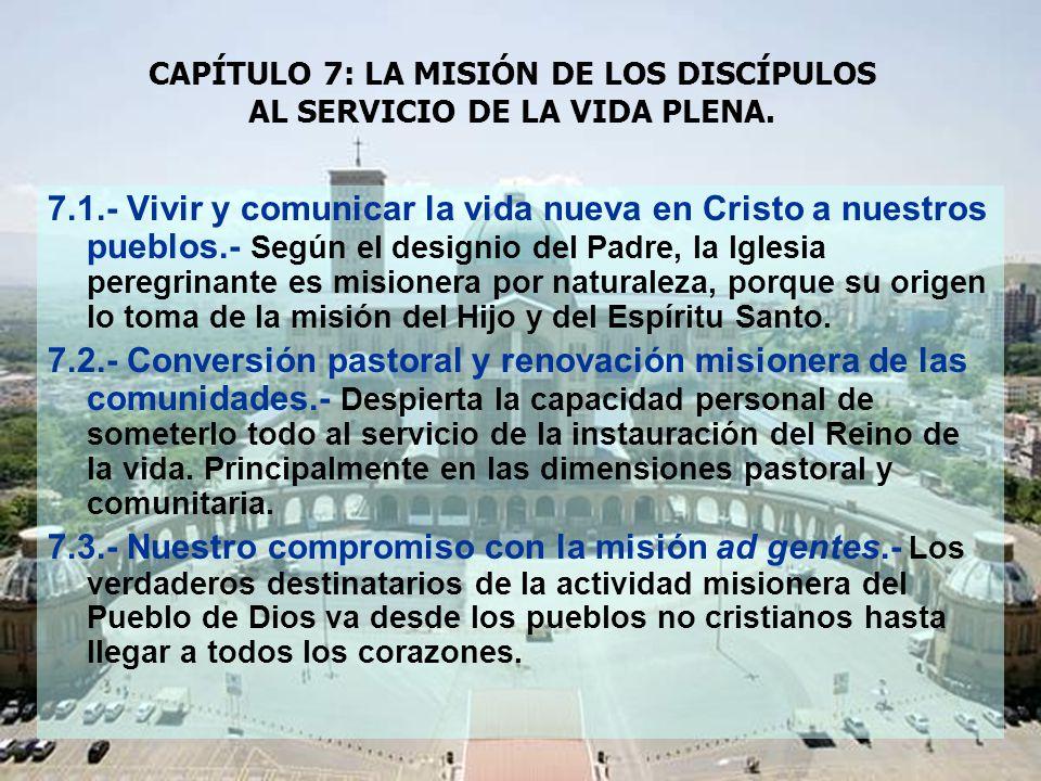CAPÍTULO 7: LA MISIÓN DE LOS DISCÍPULOS AL SERVICIO DE LA VIDA PLENA.