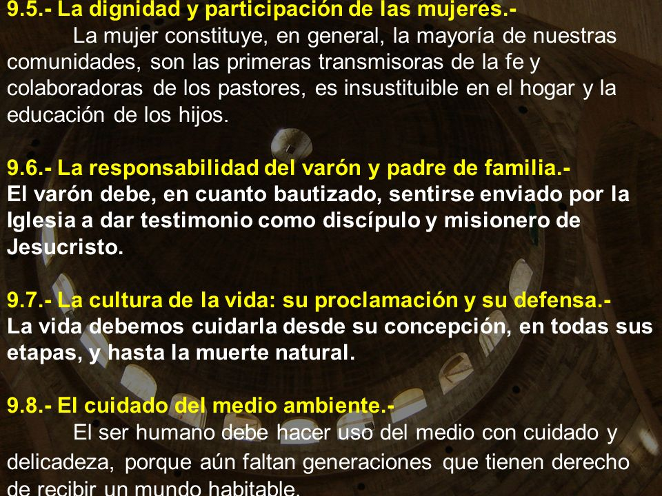 9. 5. - La dignidad y participación de las mujeres. -